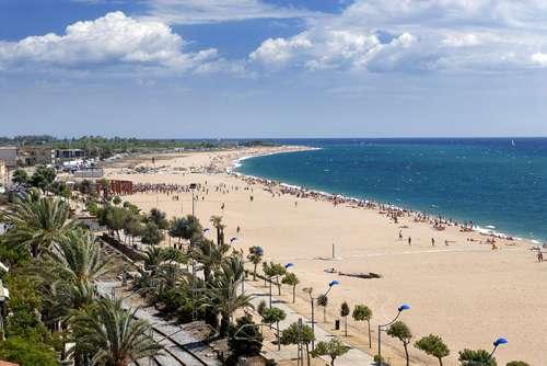 Plage de Malgrat de Mar sur la côte catalane en Espagne